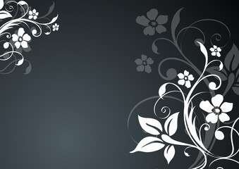 floral vector background - black with white flowers