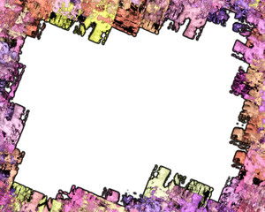 Rough Edged Bright Colored Grunge Frame