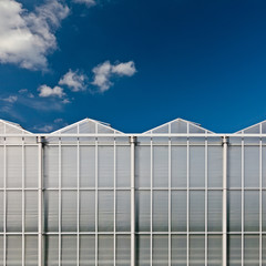 Front view of a dutch glass greenhouse