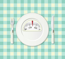 Plate with a weight balance scale. Diet concept.