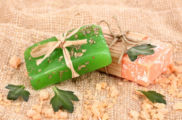 Hand-made natural soaps on sackcloth