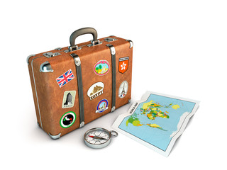 Travel Suitcase with compass and world map.