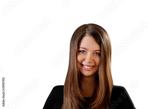 Sexy flirtatious smiling brown haired woman portrait