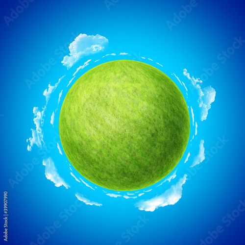 Mini green planet with blue skies and clouds template