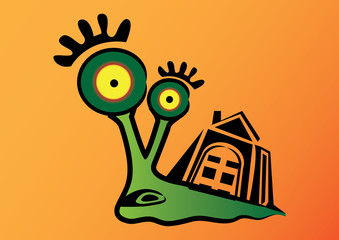 Cute snail character. Vector illustration.