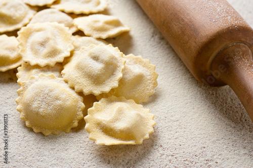 Uncooked homemade ravioli