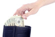 Man Reaching for US Dollars in a Wallet