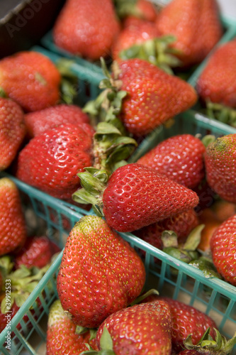Fresh Strawberries in Plastic Baskets