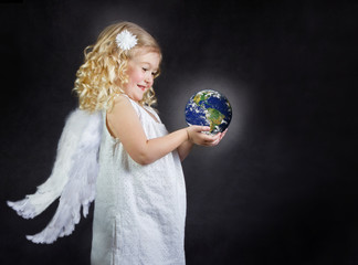 Angel child holding the world in her hands