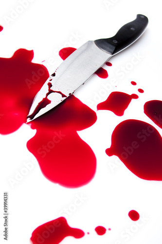 bloody knife with blood splatter