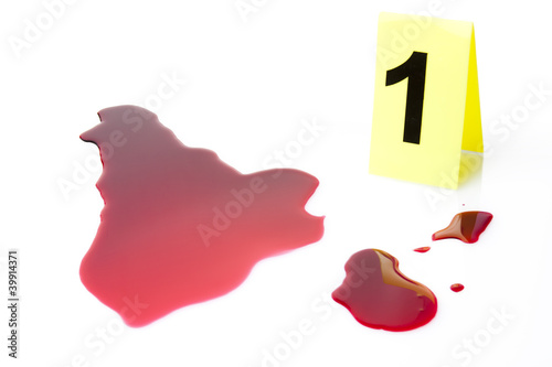 evidence with blood splatter isolated on white