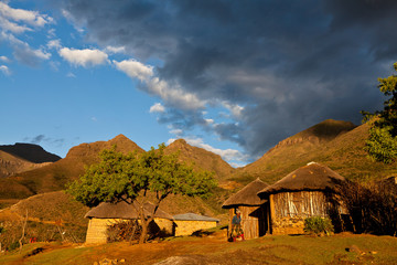 Primitive village in the mountains  in beautiful light