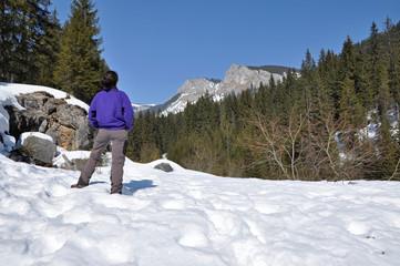 Snowy mountains in the Carpathians, Transylvania, Romania