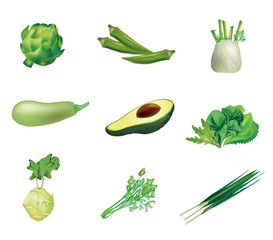 Set of green vegetables