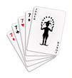 Playing cards - four sevens and joker