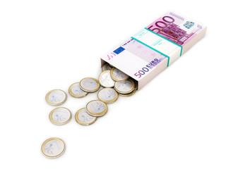 euro money box on white isolated background