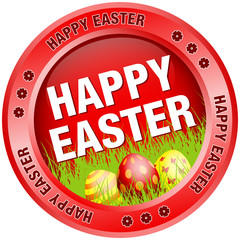 Button Happy Easter Eggs Red
