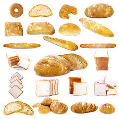 set de tipos de pan diferentes
