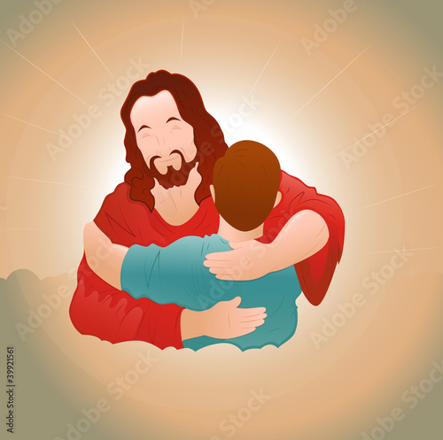 Happy Jesus with Young Boy
