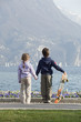 two children look the lake