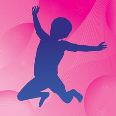 Vector jumping child silhouette against an abstract background