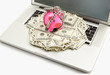 Chanined piggy bank and dollar on laptop