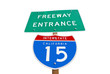 California Interstate 15 Freeway Entrance Sign Isolated