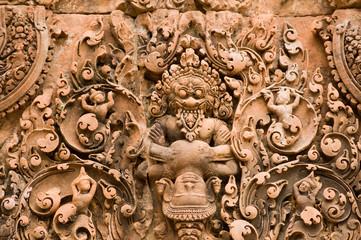 Narasimha clawing Hiranyakashipu Carving