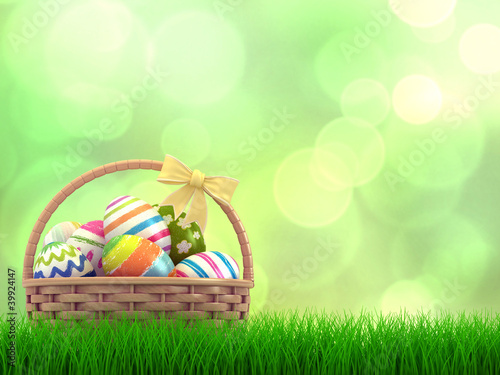 3D render of a basket with eggs
