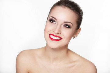 sexy smiling young woman with glamour red lips and lipstick