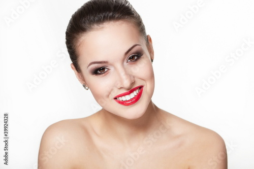 sexy smiling young woman with glamour red lips