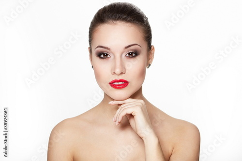 sexy smiling young woman model with glamour red lips