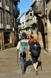 Peregrinos en las calles de Santiago de Compostela