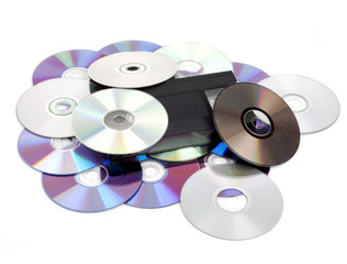 CD vs VHS. Concept of the superiority CD of the VHS