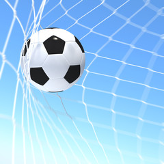 3d rendering soccer ball in a net