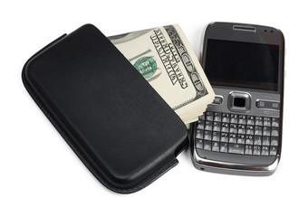 Smartphone and money isolated on white