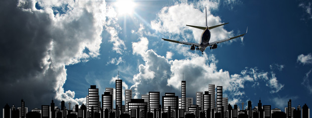 Passenger jet set against sunshine sky with cityscape illustrati