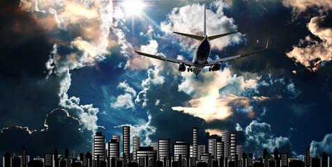 Passenger jet set against cityscape illustration with dramatic s