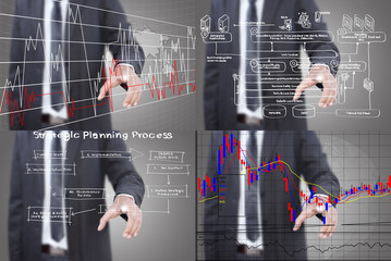Set of businessman pushing graph.