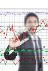 Businessman pushing finance graph for trade stock market.