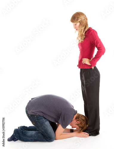young man and woman, he kneeling before she