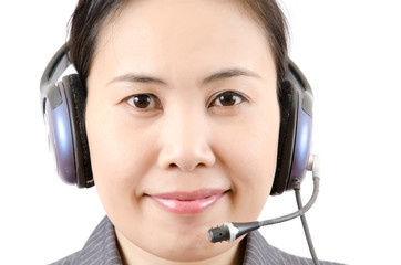 Business lady call centre employee speaking