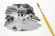 Artist Brush Painting Picture of Chinese temple.