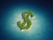 3d rendered illustration of a dollar shaped island