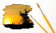 Artist Brush Painting Picture of Sunset.