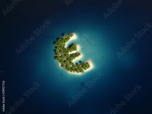3d rendered illustration of a euro shaped island