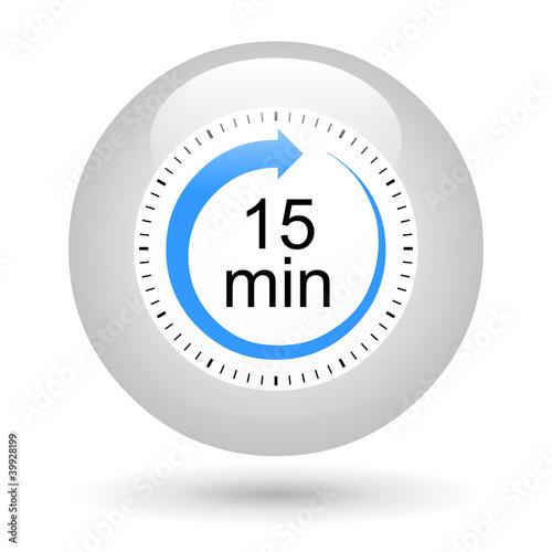 Leinwandbild Motiv Bouton icône minuterie - 15 minutes