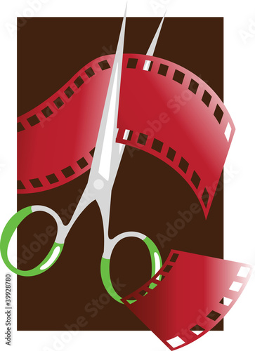 Film strip and scissors