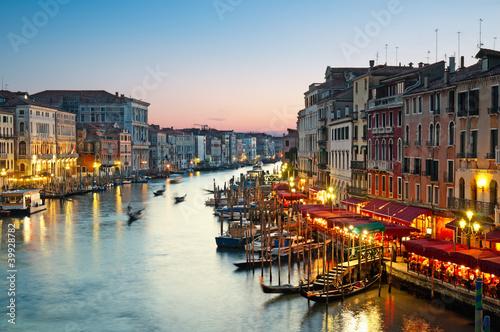 Plagát, Obraz Grand Canal after sunset, Venice - Italy