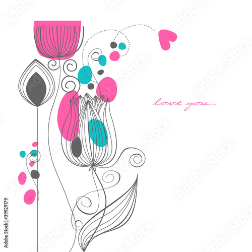 In de dag Abstract bloemen Vector flowers love message